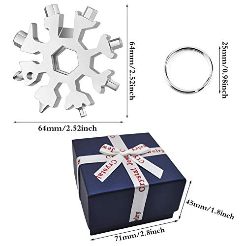 2 Pieces Snowflake Multi Tool 18 in 1 Universal Snowflake Tool Stainless Steel Snowflake Handy Tool Snowflake Wrench Tool Gadgets with Gift Box + Key Ring Snowflake Tool Gift for Men (Silver)