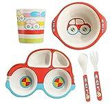 ToyHero® Kindergeschirr Set aus Bambus 5 teilig zum Kinder Fütterung, Niedlich Auto-Form Baby Teller Schüssel Tasse Löffel Gabel Kleinkind Geschirr set BPA-frei Bambus Geschirr, Rot