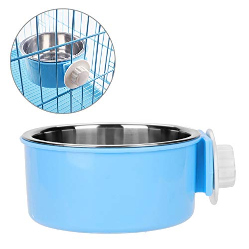 Dog Cage Crate Water Bowls Dog Food Bowl Cat Feeding Bowl 2-in-1 Pet Hanging Bowl Removable Stainless Steel Dog Bowl with Plastic Puppy Feeder Food Water Bowl for Dog Cat Bird Rabbit Hamster Ferret