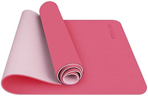 TOPLUS Tappetino da Yoga, Tappetino da Yoga Imbottito e Antiscivolo Fitness Pilates e Ginnastica con Cinturino di TPE,180 x 60 cm (Rosa)