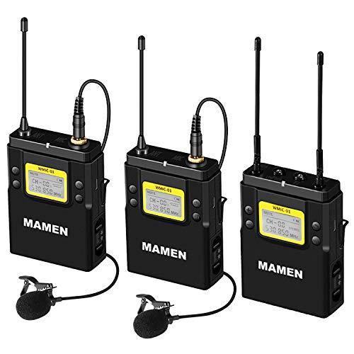 Indovis WMIC-01 K2 (1-2) Micrófono profesional UHF Inalámbrico Dual para cámaras DSLR Smartphones | 2 micrófonos - 2 transmisores - 1 receptor | 100 metros de alcance