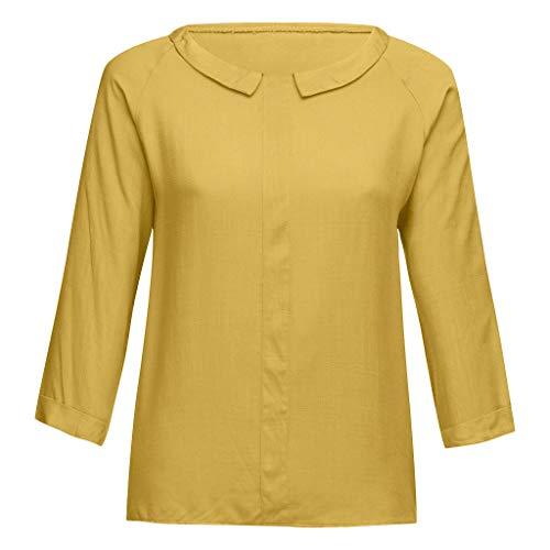 Zegeey Damen T-Shirt Oberteil Drucken Kurzarm LäSsige Lose Sommer Bluse Tunika Tops Shirts Pullover Tunika Hemd Festlich Geschen(B1-Gelb,36 DE/S CN)