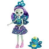 Enchantimals Mini-poupée Patter Paon et figurine animale Flap, aux longs cheveux violets, avec jupe amovible et bandeau, jouet pour enfant, FXM74
