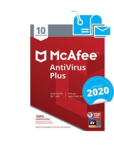 McAfee AntiVirus Plus 2020 - Antivirus | 10 Dispositivos | Suscripción de 1 año | PC Mac Android Smartphones | Código de activación por correo