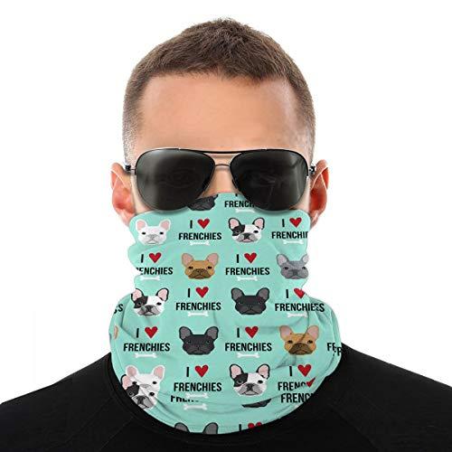 Frenchie Dog Headwear Headband Multifunctional Scarf Bandana Face Mask for Women Men