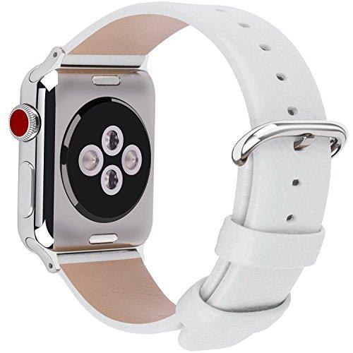 Fullmosa Correa Compatible Apple Watch 44mm 42mm 40mm 38mm, YAN 15 Colores Correa Cuero Pulsera para iWatch Series 6 5 4 3 2 1, Series SE, Blanco 38mm 40mm