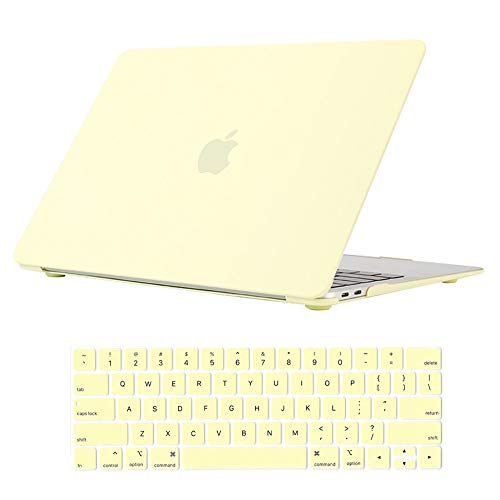 Se7enline New MacBook Pro Case 15 inch Plastic Hard Shell Protective Laptop Case for MacBook Pro 15-inch with Touch Bar Model A1707/A1990 2016/2017/2018/2019 with Keyboard Cover Skin, Mellow Yellow
