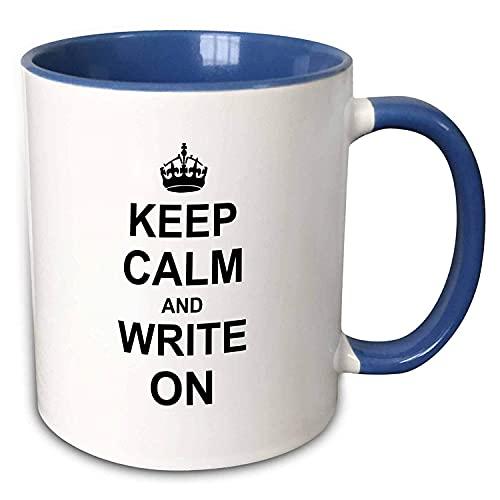 Mantenga la calma y escriba Continúe escribiendo Autor Regalos para escritores de tesis doctorales Taza azul Los mejores regalos divertidos Tazas de café de cerámica divertidas para café, té, taza de
