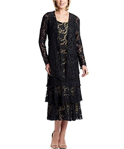 Fenghuavip Lace Mother of The Bridal Dresses 2 pcs Long Sleeves Gowns with Jacket Plus Size 22 Black (Apparel)