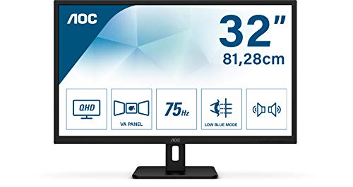 "AOC Q32E2N Moniteur 32"" QHD (2560x1440, WLED, Flicker Free, Low Blue Light, VESA, Haut-parleurs, HDMI, Displayport), Noir"