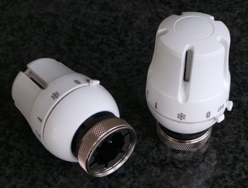 SM-PC®, Thermostat Heizkörperthermostat weiß, regelt automatisch die eingestellte Temperatur, geräuschlos wartungsfrei batterielos #770