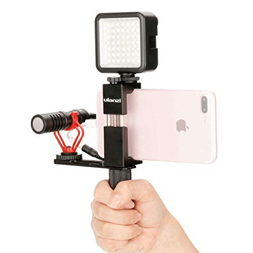 Ulanzi Pocket Rig for Smartphones with Boya by-MM1 Shotgun Microphone and 49 LED Video Light Cold Shoe Plate for iPhone 11 Pro Max Xs Xs Max X 8 7 Plus Filmmaking Professional Videography