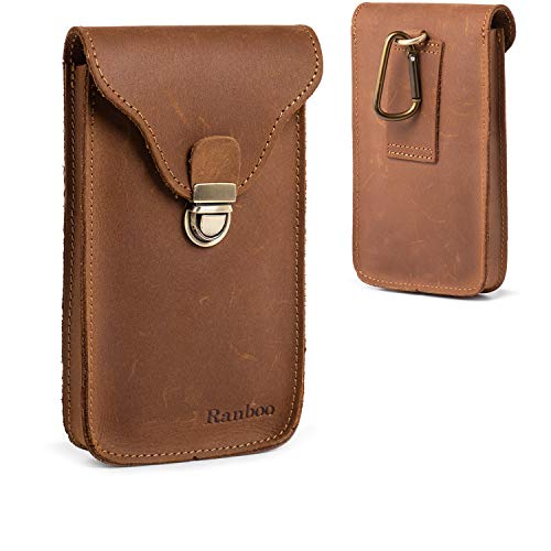 Genuine Leather Belt Pouch,Ranboo iPhone Xs Max Holster, iPhone 8 Plus 7 Plus Belt Clip Case,Samsung S8 S9 + Note 9 8 Carrying Pouch Cellphone Holder (Fit w/Phone Case on) -Brown