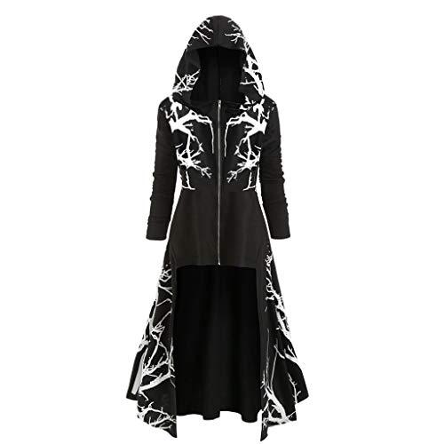 AmyGline Gothic Kleidung Damen Retro Kleid mit Kapuze Frauen Kapuzenpullover Umhang Mantel Bluse Langarm Vintage Mittelalter Kleid Gericht Maxikleid Cosplay Kostüm Karneval für Halloween Karneval