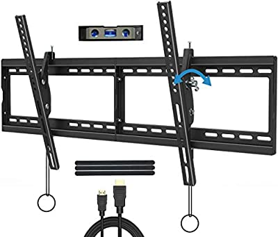 """JUSTSTONE Tilt TV Wall Mount Bracket for 40-90 Inches LED, Plasma Flat Screen Curved TVs, TV Mount with VESA 800x400mm, Fits 16"""", 24"""" Studs and Loading Capacity 165 lbs, Low Profile and Space Save"""