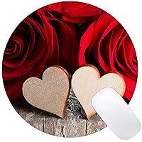 Yanteng Cojín de ratón Redondo Antideslizante Caucho Natural rectángulo Cojines de ratón Redondos, Rosa roja en Forma de corazón Amor Flor - Bordes cosidos