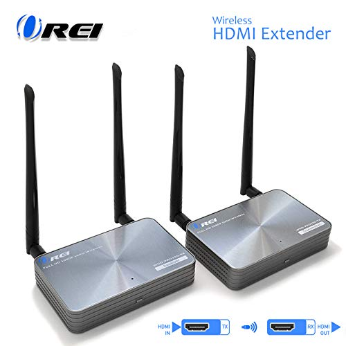 OREI Wireless HDMI Extender Transmitter & Receiver - Upto 300 Feet - Long Range - Perfect for Streaming from Laptop, PC, Cable, Netflix, YouTube, PS4 to HDTV/Projector - IR Support