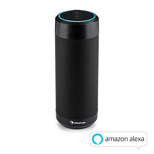 auna Intelligence Tube - Bluetooth-Lautsprecher, Bluetooth Speaker, Akku, Alexa Voice Service, Sprachsteuerung oder App-Control, IPX4 spritzwassergeschützt, WLAN, Leistung: 6 W RMS, schwarz