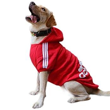 Eastlion Sweat à Capuche Grand Chaud Coton Sweatshirt pour Chiens Pet Pull Vêtements Veste pour Chien Manteau Jumpsuit Costume,Rouge,6XL