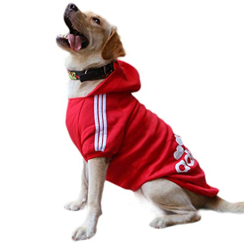 Eastlion Sweat à Capuche Grand Chaud Coton Sweatshirt pour Chiens Pet Pull Vêtements Veste pour Chien Manteau Jumpsuit Costume,Rouge,6XL