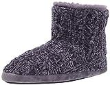 Dearfoams womens Leah Marled Chenille Knit Bootie Slipper, Graystone, Medium US