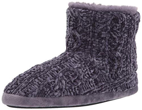 Dearfoams Leah Marled Chenille Botines de Mujer, Gris (Graystone), X-Large