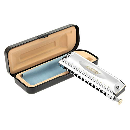 East top 12 Holes 48 Tones Professional Stainless Steel Chromatic Harmonica Key of C, Harmonica for Adults, Professional Player and Students (SR)