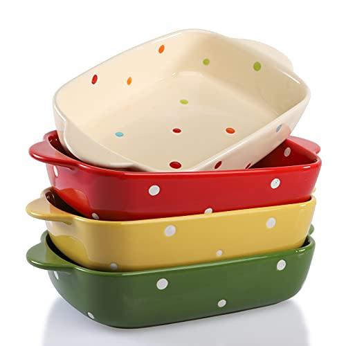 AVLA 4 Pack Porcelain Baking Dish, 7 Inch Ceramic Rectangular Small Baking Pan Baking Ramekin with Double Handles, 18 OZ Individual Baking Pans for Lasagna, Casserole Dish, Polka Dot