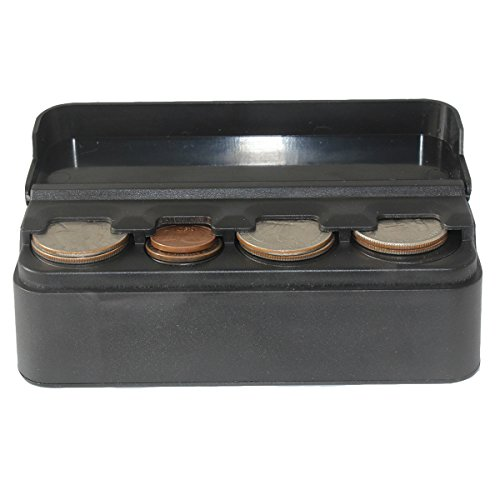 Car Coin Holder, Carfond Classic Black Premium Plastic Car Coin Organizer Case Double Sided Slots for U.S. Quarters, Dimes, Nickels, Pennies, Euros, 2018 Coin Container for Car
