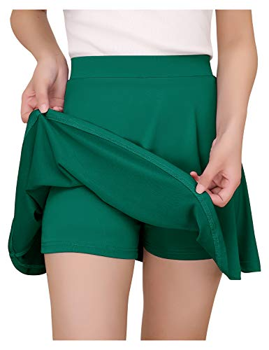 YOYAKER Damen Mädchen Basic Solid Dehnbaren Skater Mini Rock mit Shorts Green S