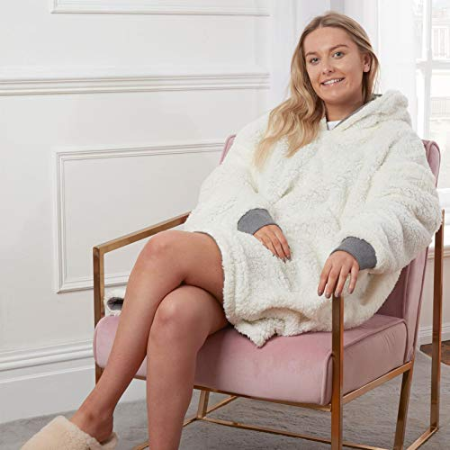 Sienna Hoodie Blanket Ultra Soft Sherpa Fleece Warm Cosy Comfy Oversized Wearable Hooded Sweatshirt Throw for Women Girls Adults Men Boys Kids Big Pocket - Charcoal Grey
