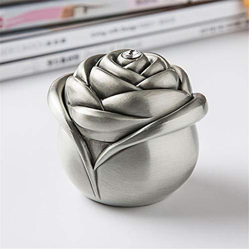 joyeros,Joyero Rose Bud, Joyero de aleación de zinc con anillo-Sijin antiguo (6,9 * 6,7 * 6 cm)