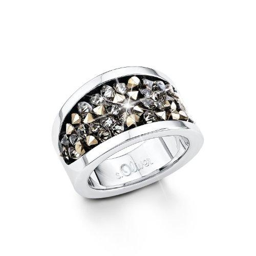Preisvergleich Produktbild S. Oliver Damen-Ring Edelstahl Kristall schwarz Gr. 52 (16.6) - 440363