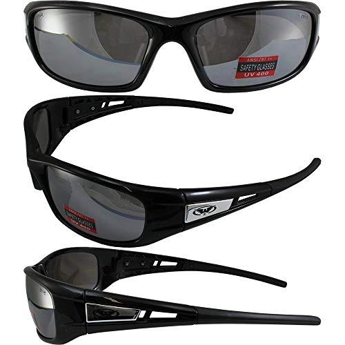 Global Vision Detour Safety Sunglasses Gloss Black Frames Flash Mirror Lenses ANSI Z87.1