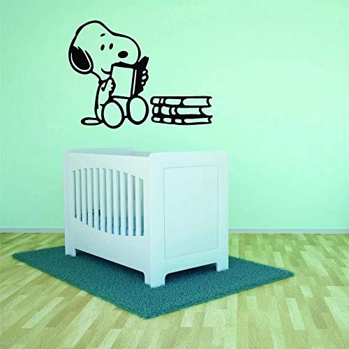 HGFDHG Personaje de Dibujos Animados Libro de Lectura Pared Dormitorio de los niños Perro Biblioteca Pegatinas de Pared decoración de la habitación de los niños Vinilo