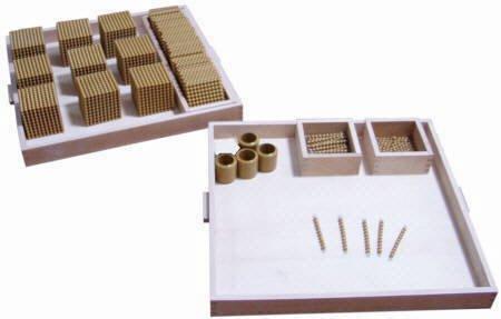 Goldenes Montessori Perlenmaterial, großes Set mit über 200 Teilen für Zahlen bis 9.000