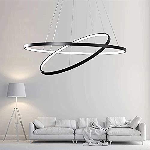 Ring Pendelleuchte schlankes Design ausgesetzt LED Hoop Light verstellbare Lampe hängen moderne Deckenleuchter-Warmweiß_Schlank 60 + 40 + 20 cm