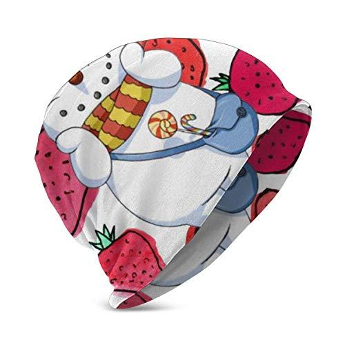 Lawenp Weihnachtsmütze Schneemann Erdbeere Bonbon Strickmütze Jungen Mädchen Winter Strickmütze Warm im Freien