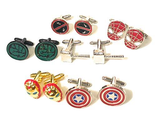 Superhero Manschettenknöpfe Set mit 6 Stück: Captain America Spiderman Thor Hulk Iron Man Deadpool Marvel + Kraftbox + 6 Geschenkbeutel