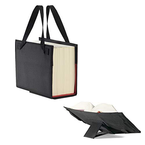 LexSkin schwarz: Buchhülle mit integrierter Buchstütze und Trageriemen in Material Nylon/Leder, Farbe schwarz