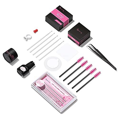 Beauty7 DIY Kit de Extensiones de Pestañas Pelo a Pelo, Juego de Inicio de Extensiones de Pestañas, 10D C Curl /Pegamento /Removedor /Pinza en Casa