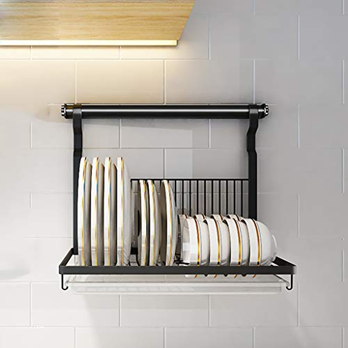 Escurreplatos Estante para secar platos, Estante para platos de acero inoxidable, Estante para platos montado en la pared Bandeja de agua y varilla para colgar, Estante de cocina plegable, 40cm × 26.5