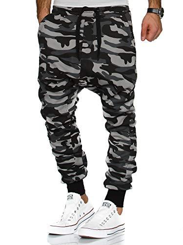 Tazzio Herren Jogginghose Harem Sporthose Fitnesshose Sweatpants (XL, Camouflage Grau)