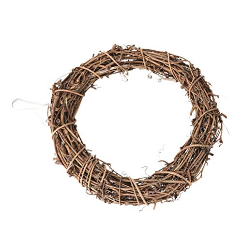 SUPVOX Ghirlanda di Natale Ghirlanda di Rattan Anello Fai Da Te Rustico Naturale per Natale Porta a Parete Finestra Matrimonio Decor 30cm
