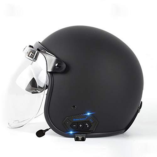 LUNANA Bluetooth Casco Moto Jet Vintage, Adultos Unisex Casco Moto de Cara...