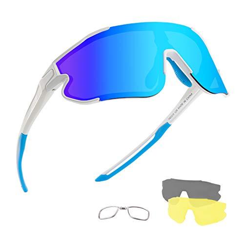 DUDUKING Occhiali da Ciclismo Polarizzati Uomo Donna, Occhiali da Sole Sportivi, Anti-UV con 3 Lenti Intercambiabili per Corsa Pesca Arrampicata (Bianco Blu)
