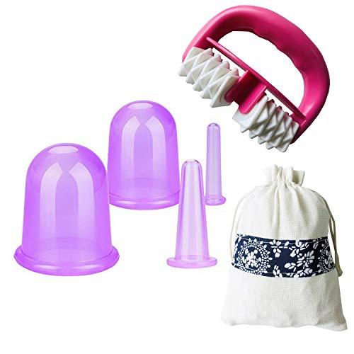IAMXXYO 5Pcs Anti-Cellulite Cup Set Silicone Emboutissage Thérapie Visage Vide Emboutissage Corps Coupe Massage Rouleau pour Drainage Lymphatique Et Soins De Santé,Violet