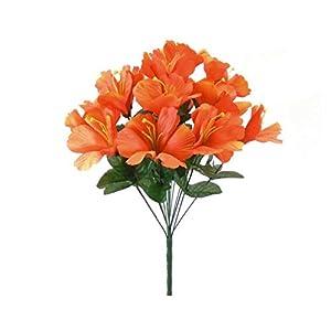 GF Artificial Silk Flowers Orange Hibiscus Bush 18″ Bouquet MG019
