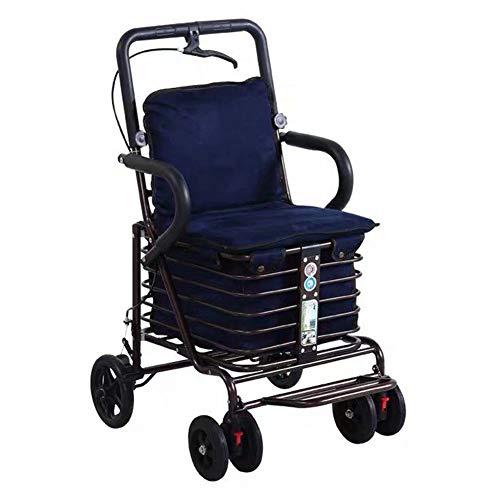LGFV-Einkaufswagen Mit Handbremse Armlehne Und Rücken Ältere Menschen Klappstuhl Geeignet Für Outing Grocery Shopping 25Kg,Blau