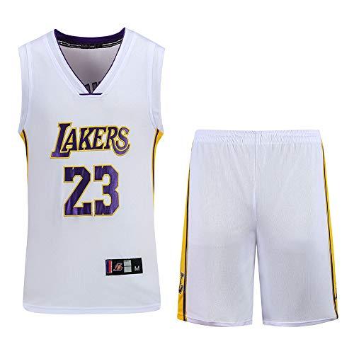 Basketballtrikotanzug, Lakers Lebron James Nr. 23 T-Shirt, Bedruckte Trainingsshorts im Freien, Sportbasketballtrikot-White1-XXL